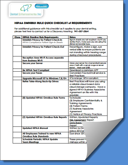 Hipaa Omnibus Rule Checklist of Requirements